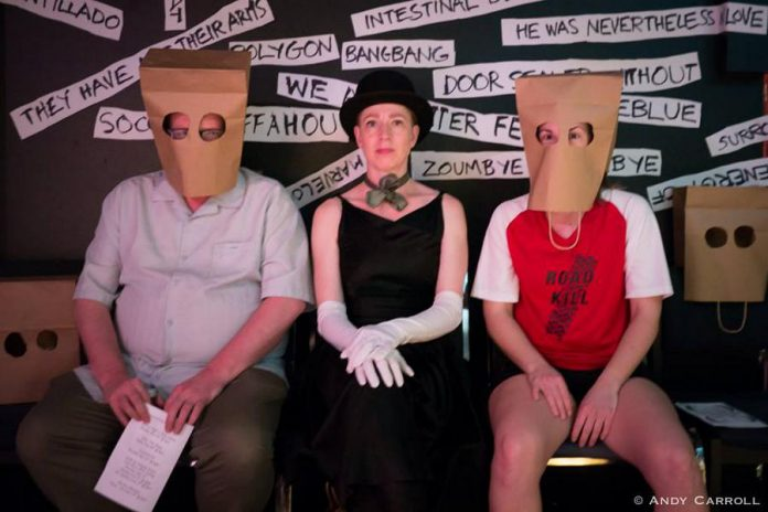 kawarthaNOW's theatre reviewer Sam Tweedle gets into the spirit of the play by wearing a paper bag mask on his face along with a bag-wearing Lindsay Unterlander (right) and the play's costumer, the unmasked Kate Story. (Photo: Andy Carroll)