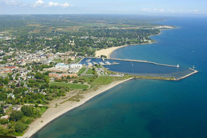 An aerial view of Cobourg's West Beach, where the body of 32-year-old Ryan Zinke of Cobourg was recovered on May 9, 2018.