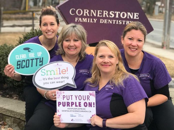 The Cornerstone Family Dentistry support team consists of four hygienists (Jenna Wolgemuth, Cathy Wakeford, Tari Claypole, and Lynn Menard) who assess the oral health of patients, assist the dentists, take and develop dental radiographs, as well as provide other preventive dental care. (Photo courtesy of Cornerstone Family Dentistry)