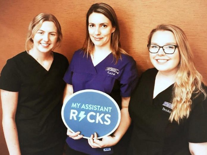 Dental assistants also make up the Cornerstone Family Dentistry support team, including Emily Humphries, Rachel Blewett and Brooke Steckley, who perform many tasks, ranging from providing patient care to taking x-rays to record-keeping, and much more. (Photo courtesy of Cornerstone Family Dentistry)