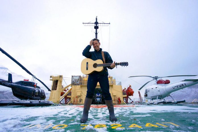 "Musician Danny Michel on the deck of the legendary Soviet-era Russian icebreaker Kapitan Khlebnikov during an 18-day arctic expedition, where he wrote and recorded all the songs on his award-winning 2017 album ""Khlebnikov"". Michel performs at the Market Hall in Peterborough on May 27, 2018. (Photo courtesy of Danny Michel)"