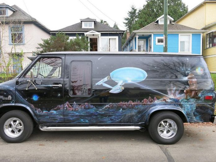 "Danny Michel's Star Trek van, home to his ""Dan's Space Van"" mobile web series. (Photo courtesy of Danny Michel)"
