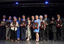 The inductees of the 2017 Junior Achievement of Peterborough, Lakeland, Muskoka Business Hall of Fame. This year's 11 inductees (Monika Carmichael, Sally Harding, Paul Bennett, Alf and June Curtis, Robert Gauvreau, Paschal McCloskey, Carl Oake, John James (Jack) Stewart, and John A. McColl and James. H. Turner) will be honoured at the induction ceremony and dinner on May 24, 2018 at The Venue in downtown Peterborough. (Photo: Niki Allday Photography)