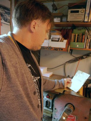 Peterborough artist and graphic designer Jeff Macklin is creating letterpress certificates for the inaugural Peterborough Arts Awards.  (Photo: Jeff Macklin / Facebook)