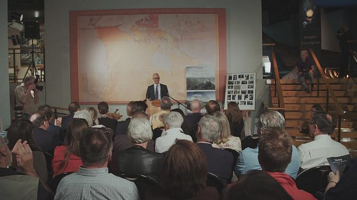On May 16, 2018, Garfield Mitchell, director of the W. Garfield Weston Foundation, announced a gift of $7.5 million to The Canadian Canoe Museum's capital campaign. (Photo: Canadian Canoe Museum)