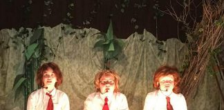 """Three of the child actors portraying Simon, Piggy, and Ralph during a rehearsal of """"Lord of the Flies: The Musical"""". The family-friendly production from Ida Brown of The Little Town Theatre, based on the classic novel by William Golding and featuring the music of Pink Floyd performed by a live band, runs for two performances on May 25 and 26, 2018 in Norwood. (Photo: Ida Brown)"""
