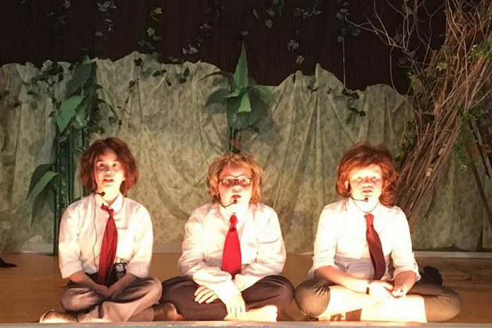 "Three of the child actors portraying Simon, Piggy, and Ralph during a rehearsal of ""Lord of the Flies: The Musical"". The family-friendly production from Ida Brown of The Little Town Theatre, based on the classic novel by William Golding and featuring the music of Pink Floyd performed by a live band, runs for two performances on May 25 and 26, 2018 in Norwood. (Photo: Ida Brown)"