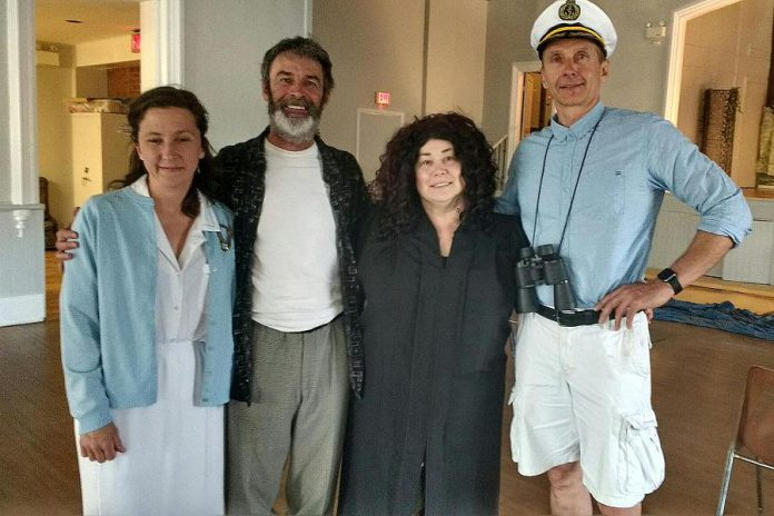 The adult members of the cast includes Theresa Butler as the Nurse, Randy McCaugherty as William Golding, Margaret Lobb as The Lordess of the Flies, and Ken Scott as The Naval Captain. (Photo: Sam Tweedle / kawarthaNOW.com)