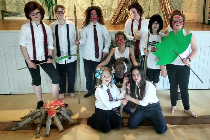 "The main cast of ""Lord of the Flies: The Musical"" includes Helen Genge, Laura Cassidy-Lobb, Chaiora Haylestrom, Dakota Pukarowski-Brown, Jack Greer, Hannah Paddison, Ava Rutherford, Kelsey Scott, Anna Genge, and Cate Adams.  The cast is made up of kids between the ages of nine and 15 from Norwood, Hastings, and Warkworth.  (Photo: Sam Tweedle / kawarthaNOW.com)"