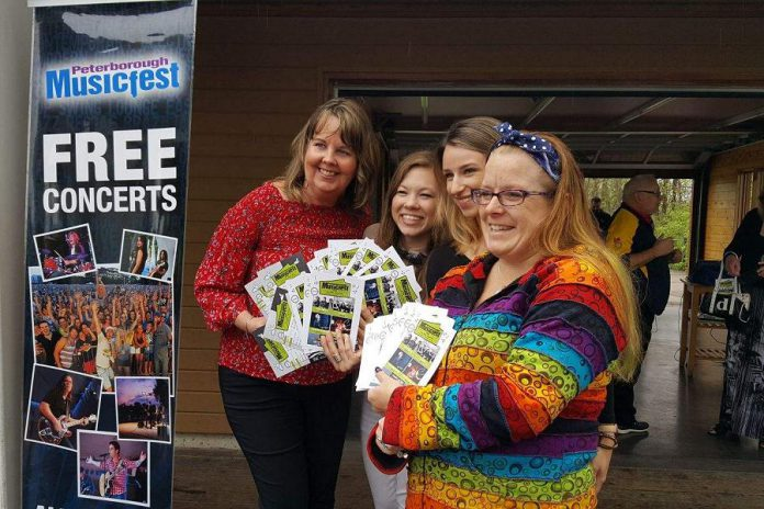 Staff of Peterborough Musicfest (Tracey Randall, Tashonna McDougall, Chelsea Boyd, and Lindsay Norman) at the announcement of the 2018 summer concert line-up on Tuesday, May 15th at the Silver Bean Cafe at Millennium Park in Peterborough. (Photo; Jeannine Taylor / kawarthaNOW.com)