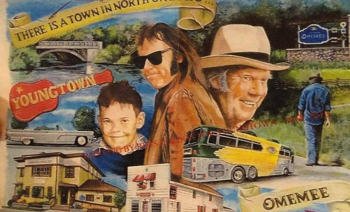 An illustration of a Neil Young themed mural.  (Photo: Omemee Downtown Revitalization Group / Facebook)