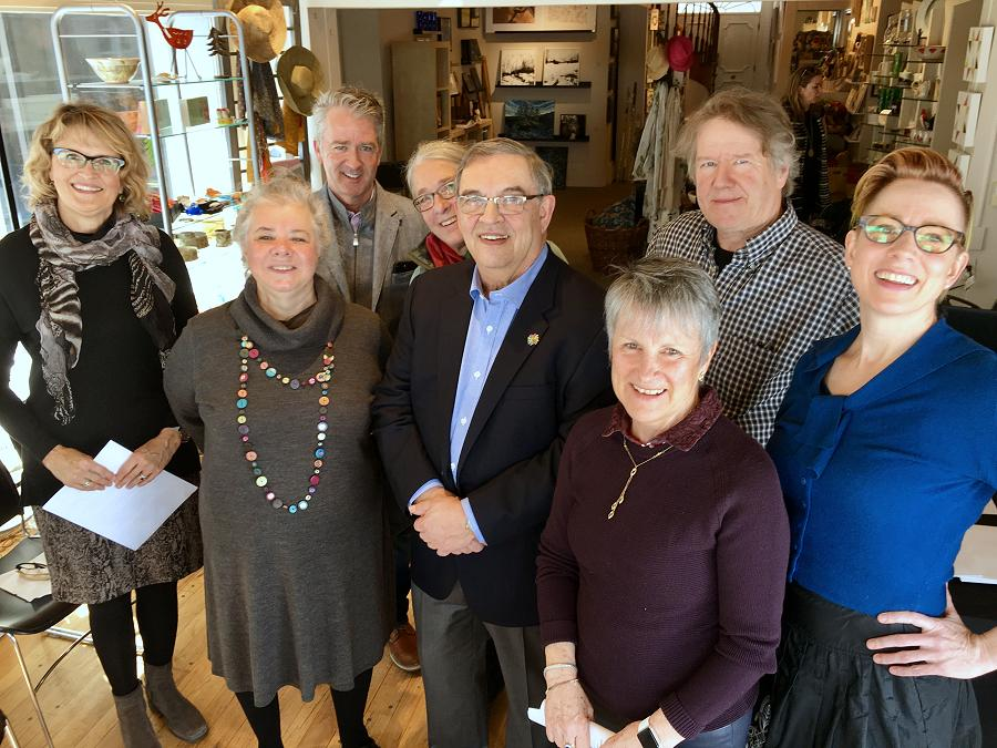 At the sold-out Mayor's Luncheon for the Arts on May 25, 2018, the inaugural Peterborough Arts Awards will be presented to recognize outstanding achievement in the arts. The awards were conceived by the late Liz Bierk and Su Ditta (second from left), championed by LLF Lawyers partner and photographer Bill Lockington (front centre), and have been sponsored over five years by (from left to right) Merit Realty Limited (represented by by Shelley Barrie), BrandHealth (represented by Paul Hickey), Kate and Alex Ramsay (represnted by Kate Ramsay, behind Bill Lockington), and Betty and Bill Morris (represented by Betty Morris). Also pictured are Bill Kimball of Public Energy (the charitable trustee for the Peterborough Arts Awards) and writer and performer Kate Story. Not pictured: sponsor Paul Bennett of Ashburnam Realty. (Photo: Tammy Thorne / kawarthaNOW.com)