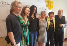 The six recipients of the Peterborough Arts Awards: Robert Winslow, Melody Thomas, Leanne Betasamosake Simpson, Krista English, Beth McMaster, and Brad Brackenridge. The inaugural awards were presented on May 25, 2018, at The Mayor's Luncheon for the Arts in Peterborough. (Photo: Jeannine Taylor / kawarthaNOW.com)