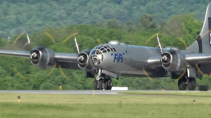 "The B-29 Superfortress Bomber ""Fifi"" on the runway. (Photo: Commemorative Air Force)"