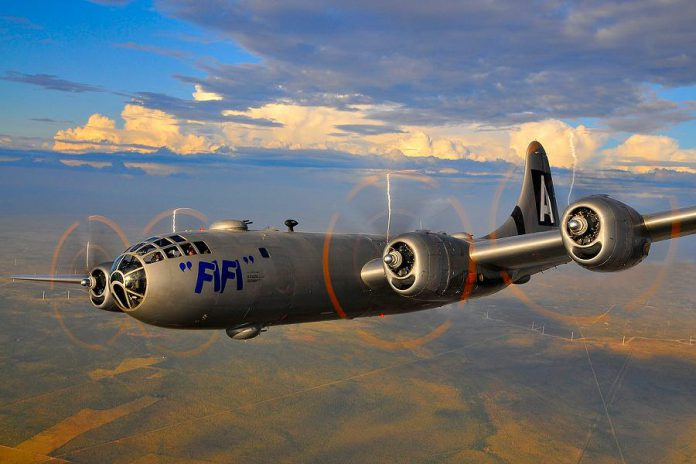 "The B-29 Superfortress Bomber known as ""Fifi"", one of the last two flying B-29s, will be at the Peterborough Airport from July 30 to August 5, 2018. Designed by Boeing, the four-engine propeller-driven heavy bomber was flown primarily by the United States during World War II and the Korean War. It was one of the largest aircraft operational during World War II and featured state-of-the-art technology at the time. (Photo: Arizona Commemorative Air Force Museum)"