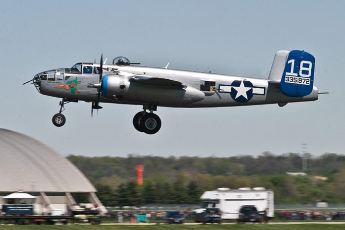 "The B-25 Bomber ""Maid in the Shade"" in flight.  (Photo: Arizona Commemorative Air Force Museum)"