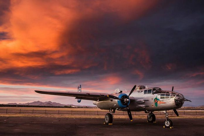 "The B-25 Bomber known as ""Maid in the Shade"", one of only 34 B-25s still flying today, will be at the Peterborough Airport from July 23 to 30, 2018. The B-25 was manufactured by North American Aviation as a low-altitude bomber, and versions of the aircraft were used extensively in the European and Pacific theatres during World War II. (Photo: Arizona Commemorative Air Force Museum)"