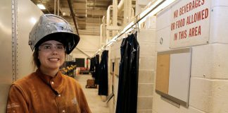 Maddy Paulson-Carlin, a student at St. Thomas Aquinas Catholic Secondary School in Lindsay, is working towards her high school diplomas while learning the skilled trade of welding through the Ontario Youth Apprenticeship Program. (Photo: Galen Eagle / PVNC Catholic District School Board)