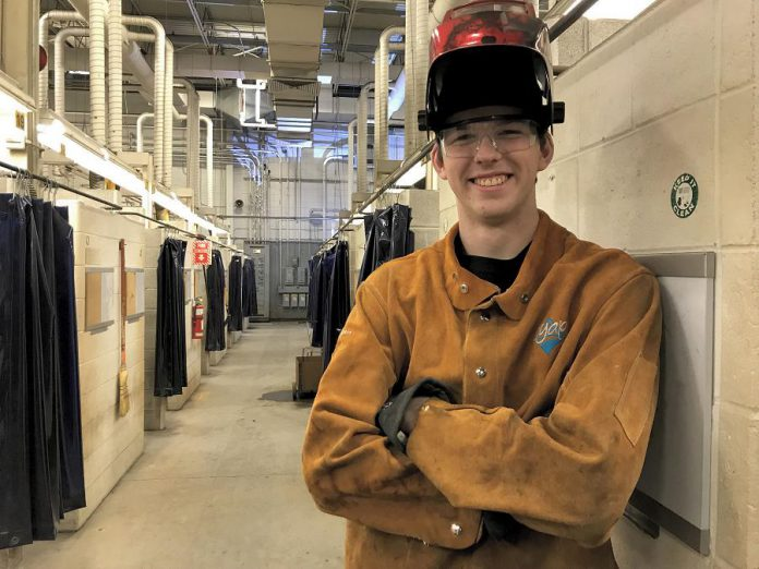 Owen Robinson, who attends St. Stephen Catholic Secondary School in Bowmanville, will graduate high school having completed Level I training in welding through the Ontario Youth Apprenticeship Program.  (Photo: Galen Eagle / PVNC Catholic District School Board)