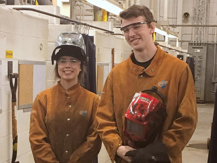While there were some comments from men when she first started welding, Maddy says male peers like Owen are very supportive and accepting of their female counterparts entering into the skilled trades. (Photo: April Potter / kawarthaNOW.com)