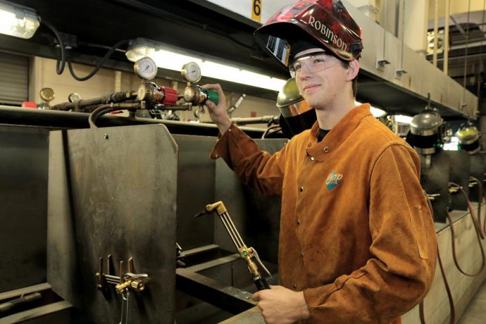 Owen says he was a good welder in metal shop, but didn't see the potential for a career in welding until he enrolled in the Ontario Youth Apprenticeship Program.  (Photo: Galen Eagle / PVNC Catholic District School Board)