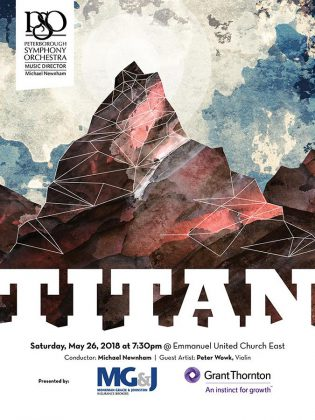 The Peterborough Symphony Orchestra closes its 2017/18 concert season with Titan at Emmanuel United Church East in Peterborough. Tickets are available from the Showplace box office.