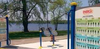 Construction is complete on Peterborough's first adult outdoor gym in Beavermead Park. The project has been funded with contributions of $25,000 from each of the Rotary Club of Peterborough-Kawartha and the Rotary Club of Peterborough and $40,000 from the City of Peterborough. (Photo: Bruce Head / kawarthaNOW.com)
