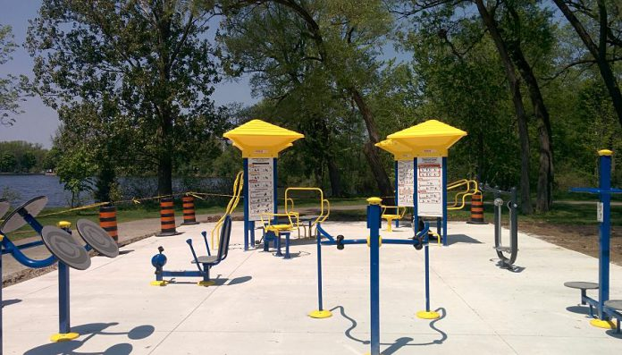 While all the outdoor gym equipment has been installed and is functional some finishing touches including landscaping are required before the gym will officially open. (Photo: Bruce Head / kawarthaNOW.com)