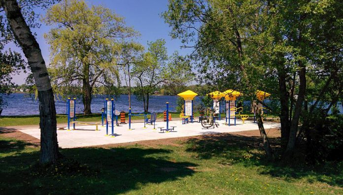 The Rotary Outdoor Adult Gym is located in the northwest corner of Beavermead Park, near the volleyball courts and the beach. (Photo: Bruce Head / kawarthaNOW.com)