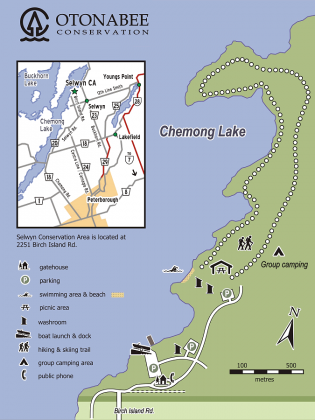 A map of the Selwyn Beach Conservation Area.