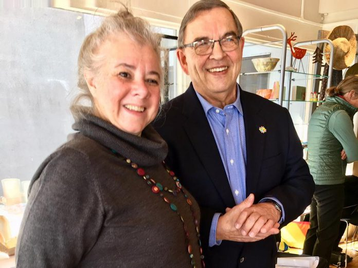 EC3 executive director Su Ditta with awards champion Bill Lockington of LLF Lawyers at the announcement of the inaugural Peterborough Arts Awards, held March 15, 2018 at Art Gallery of Peterborough. (Photo: Tammy Thorne / kawarthaNOW.com)