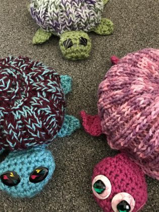 "A few of the hand-knit and crocheted turtles created by Knittervention for the group's latest ""yarn bomb"" in Bancroft to raise awareness for the local turtle population. (Photo courtesy of Knittervention)"