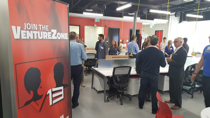 The VentureZone is a flexible co-working and business accelerator space for technology startups and entrepreneurs.  (Photo: Jeannine Taylor / kawarthaNOW.com)