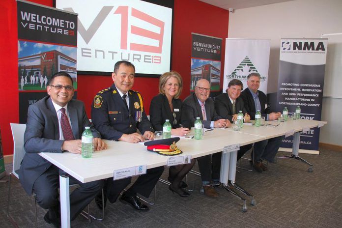 Collaboration between partners has been at the foundation of Venture13. Pictured are: Dereck Paul, President & CEO, Lakefront Utility Services Inc.; Kai Liu, Police Chief, Cobourg Police Service; Wendy Curtis, Executive Director of the Northumberland Community Futures Development Corporation; Gil Brocanier, Mayor, Town of Cobourg; Stephen Peacock, Chief Administrative Officer for The Town of Cobourg; and Phil Mandryk, President, Northumberland Makers. (Photo: Jeannine Taylor / kawarthaNOW.com)