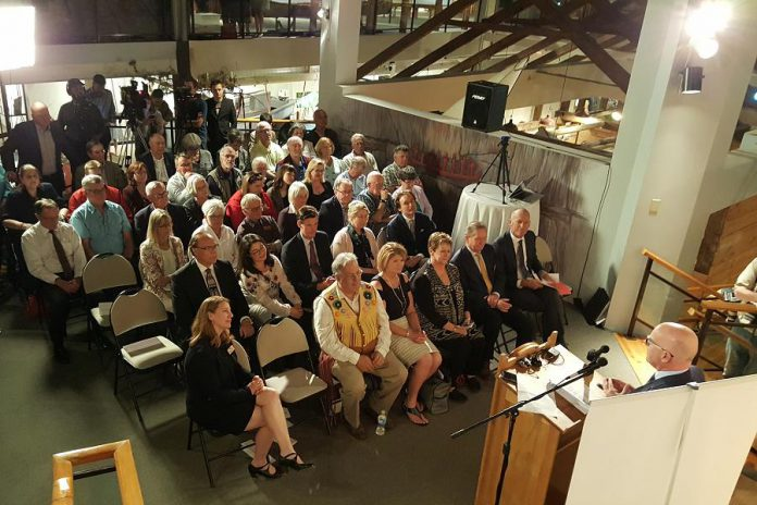 John Ronson, Chair of the Board of Directors of The Canadian Canoe Museum, speaking to the crowd at the May 16, 2018 announcement. (Photo: Jeannine Taylor / kawarthaNOW.com)