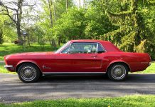 This 1968 Ford Mustang, owned by Cavan resident Ralph Heaslip, will be among the many vintage rides displayed Saturday, July 7th as the Millbrook Classic Car Show returns to the village's downtown. He's just the third owner of the vehicle, which was bought new at a Ford dealership in Bowmanville and has just 68,000 original miles on the odometer. (Photo courtesy of Ralph Heaslip)
