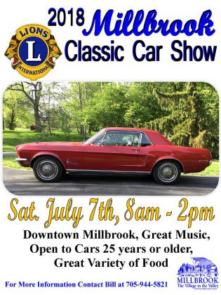 The 2018 Millbrook Classic Car Show takes place from 8 a.m. to 2 p.m. on Saturday, July 7th in downtown Millbrook.