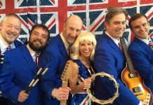 "Singer Leisa Way with members of The Lonely Hearts Club Band (Fred Smith, Sam Cino, Bruce Ley, Bobby Prochaska, and Nathan Smith) in ""Across the Pond: The British Invasion"", which runs from June 26th to July 7th at Globus Theatre at Lakeview Arts Barn in Bobcaygeon. (Photo: Way-To-Go Productions)"