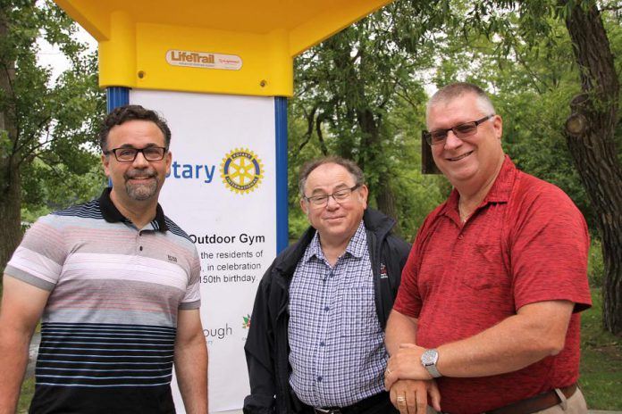 Peterborough city councillor Don Vassiliadis along with councillors Keith Riel and Gary Baldwin, who both represent Ashburnham Ward where Beavermead Park is located.  (Photo: Jeannine Taylor / kawarthaNOW.com)