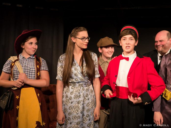 Emily Keller as Cowpoke, Aimee Gordon as Boo, Emma Meinhardt as Target Boy, Abbie Dale as Kirby, and Brad Brackenridge as The Mixer. (Photo: Andy Carroll)