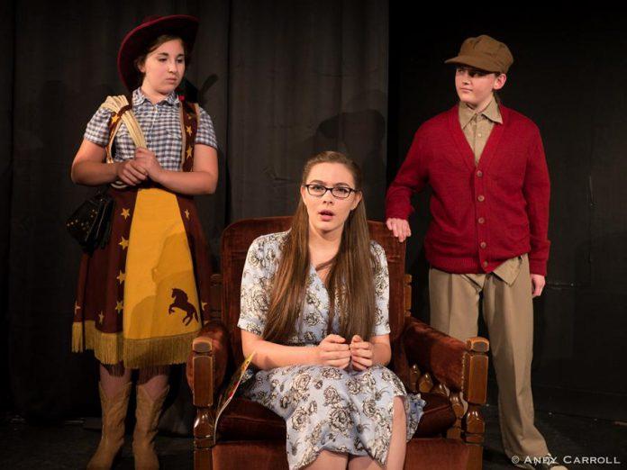 Emily Keller as Cowpoke, Aimee Gordon as Boo, and Emma Meinhardt as Target Boy. (Photo: Andy Carroll)