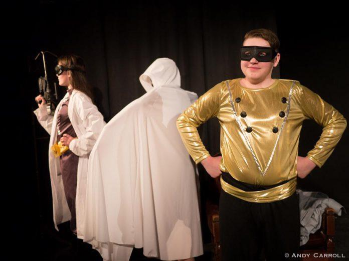 Samuelle Weatherdon as Test Tube, Aimee Gordon as Boo, and Tyrnan O'Driscoll as Shiny the Golden Boy. (Photo: Andy Carroll)