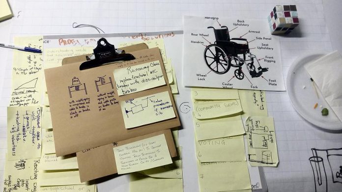 Participants came up with the concept of a self-braking wheelchair.  (Photo courtesy of Innovation Cluster)