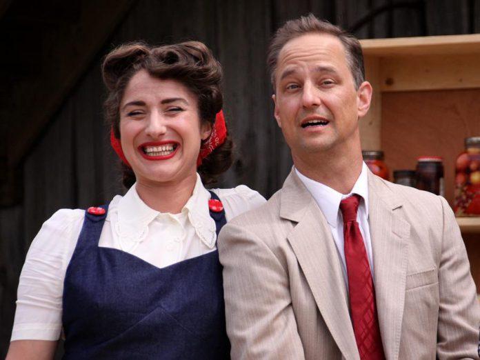 Kait Dueck as Grace Dyson, who's eventually won over by  Courtenay Stevens' character  Ed Milton. (Photo: Jeannine Taylor / kawarthaNOW.com)