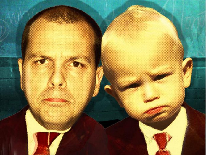 "In his one-man show ""Like Father, Like Son?  Sorry"", comedian Chris Gibbs talks about his experience of becoming a new father. (Graphic: Chris Gibbs)"