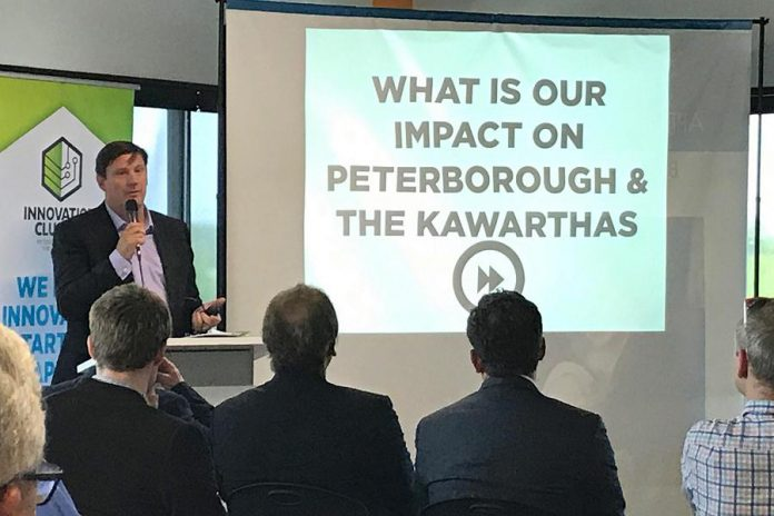 At the Innovation Cluster Peterborough and The Kawarthas annual general meeting on May 31, 2018, Innovation Cluster President and CEO Mike Skinner reported the economic organization has supported 77 companies, who now employ 141 people with an overall economic impact of $10,950,587. (Photo courtesy of the Innovation Cluster)