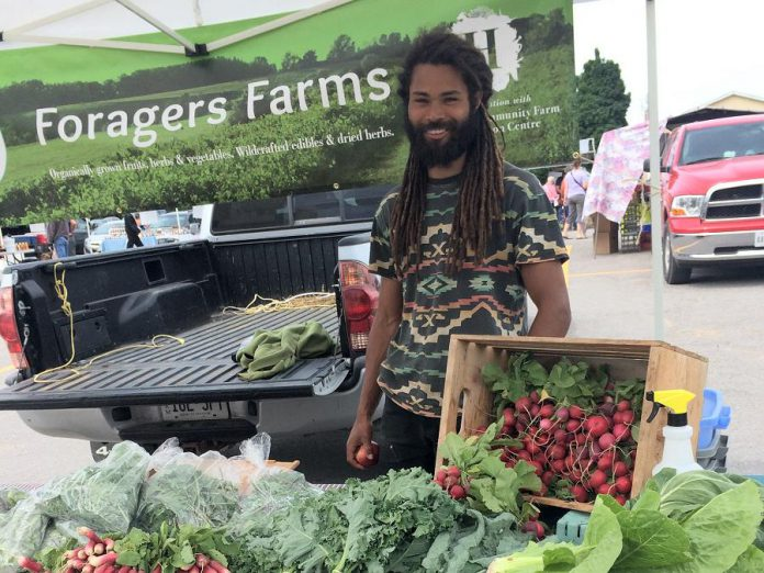New vendor Foragers Farm sees the Peterborough Farmers' Market at Morrow Park as a great opportunity for farmers.  (Photo: Eva Fisher / kawarthaNOW.com)