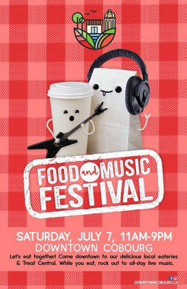 The Cobourg Food and Music Festival takes place on King Street on July 7th from 11 a.m. to 9 p.m. (Graphic: Cobourg DBIA)