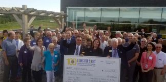 """Representatives from area Lions and Lioness Clubs, the Peterborough Regional Health Centre (PRHC) Foundation, and the PRHC Ophthalmology Group celebrate the success of the """"Lions for Sight"""" campaign, which raised $202,669.68 for cataract surgical equipment at PRHC. (Photo courtesy of PRHC Foundation)"""