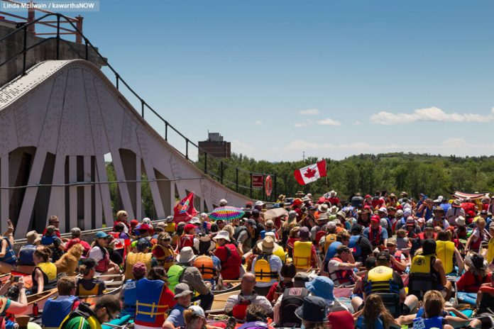 "It won't be quite this crowded at this year's Lock & Paddle event on June 24th, as the goal this year isn't to fit as many paddlers as possible in each chamber, but to give as many paddlers as possible the chance to  ""lock-through"" the Peterborough Lift Lock. (Photo: Linda McIlwain / kawarthaNOW.com)"
